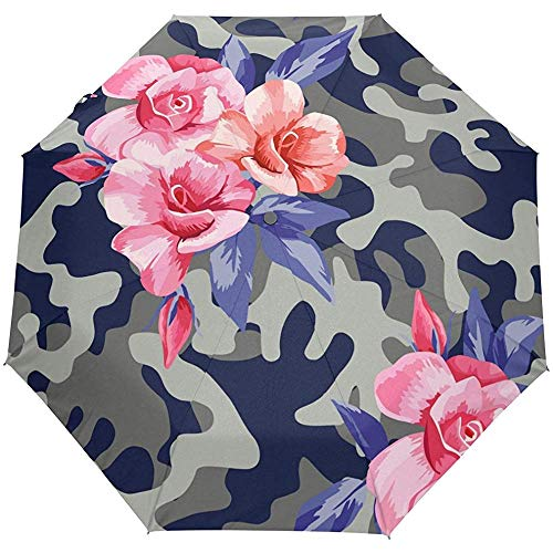 Blumenrosen-Militärmuster-Auto-Öffnen-Schließen-Sonnenregen-Regenschirm