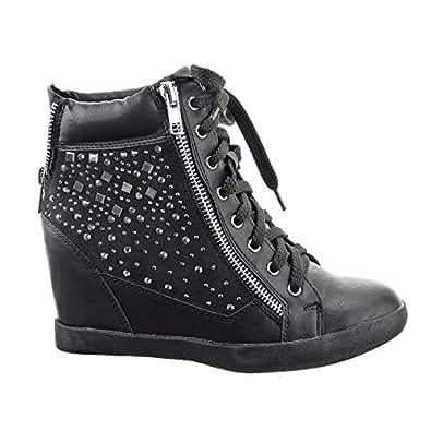 Sopily - Chaussure Mode Baskets compensée Montante Montante femmes strass diamant Fermeture Zip Talon compensé 9 CM - Intérieur cuir - Noir - FRF-1018-666 T 35