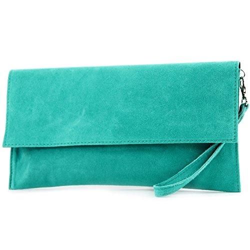modamoda de - ital. Ledertasche Clutch Unterarmtasche Abendtasche Citytasche Wildleder T151 , Präzise Farbe:Türkis (Clutch Tasche)
