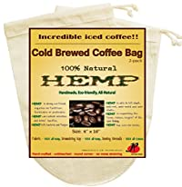 (2 Pack) Reusable Cold Brew Coffee Filter 6.5 x 10 inches - FULL TASTE - NO HARMFUL CHEMICAL IN YOUR COLD BREW COFFEE OR YOUR DRIP COFFEE ANYMORE. - Pure Hemp Fabric - Best Choice Safety Health - Fine Mesh Strainer for Cold B