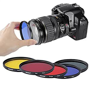 Neewer® 72mm 5 Color Lens Filters Red Yellow Green Blue Orange for Contrast or Creative Effect