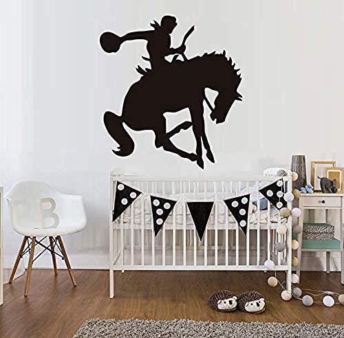 Western Reiter Reiten Pferd Wandaufkleber Kinderzimmer Vinyl Abnehmbare Sattel Up Silhouette DIY Wohnkultur Schlafzimmer Wandtattoo Stencil58X62Cm (Pferd Sättel Western)