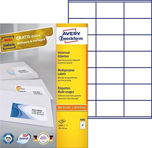 einfacher kopierer AVERY Zweckform 3481 Universal-Etiketten (A4, Papier matt, 2,100 Etiketten, 70 x 41 mm, 100 Blatt) weiß