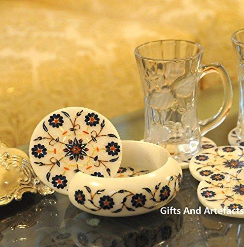 Lot de 6 pièces de thé Coaster 10,2 cm Round Insert en marbre Blanc Multi Couleur pierres de lumière