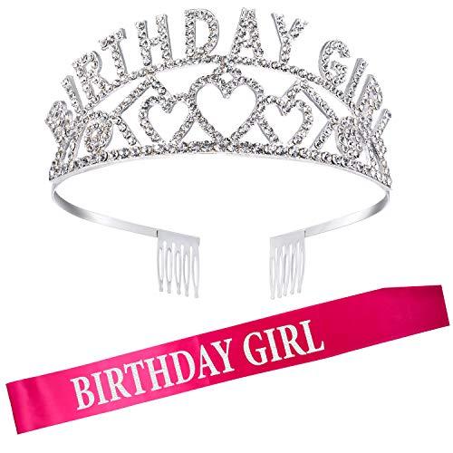 Geburtstag Mädchen Glitter Krone Strass Kristall Dekor Stirnband mit Geburtstag Mädchen Schärpe (Rose rot)