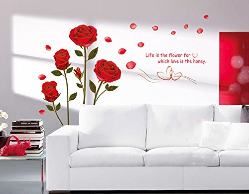 Ufengke Romantic Red Rose Flowers Wall Decals Living Room Bedroom Removable Wall Stickers Murals