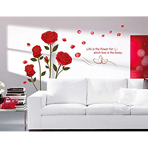 Great Ufengke® Romantic Red Rose Flowers Wall Decals, Living Room Bedroom  Removable Wall Stickers Murals