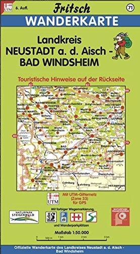 Fritsch Karten, Nr.71, Frankens gemütliche Ecke, Landkreis Neustadt an der Aisch, Bad Windsheim (Fritsch Wanderkarten 1:50000)