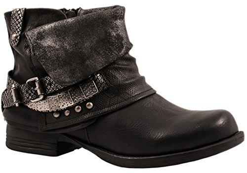 Elara Damen Stiefeletten | Bequeme Biker Boots | Metallic Print Nieten | Chunkyryan 344D-PA-Schwarz-38