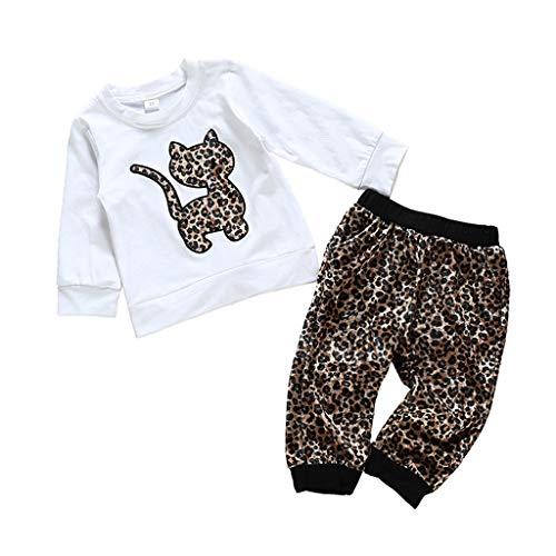 HSKB Mädchen Langarm Kleider Baumwolle Stickerei Leoparden Katzen T-Shirt Pullover für Kinder mit Zweiteiliger Hosenanzug