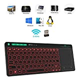 Rii K18 3-LED Color 2.4GHz Wireless Keyboard with Build-in Large Size Touchpad Mouse,Rechargable Li-ion Battery for PC,Google Smart TV,Kodi,Raspberry Pi2/3, HTPC IPTV,Android Box,XBMC,Windows 2000 XP