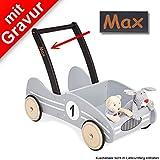 Pinolino Lauflernwagen 'Rennwagen Kimi' grau MIT Gravur - Lauflernhilfe inkl. hochwertiger...