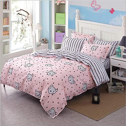 SHJIA Bett Superfine Fiber Cover Set Bettbezug Adult Child Bettwäsche und Kissenbezüge Tröster Bettwäsche Set Pink 150X200Cm - Pink Schwarz Tröster Set