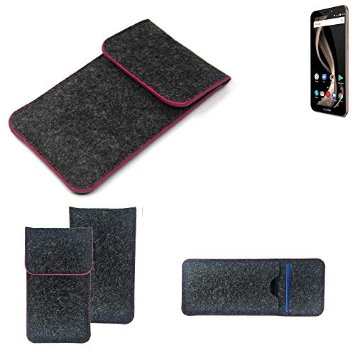 K-S-Trade® Filz Schutz Hülle Für Allview X4 Soul Infinity Z Schutzhülle Filztasche Pouch Tasche Case Sleeve Handyhülle Filzhülle Dunkelgrau Rosa Rand