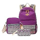 Aizbo® Canvas School Backpack Set 3 Pieces School Bags Set for Teenage Girls Casual Daypack/Shoulder Bag/Pencil Case (Purple)