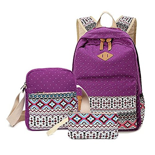 Aizbo® Canvas School Backpack Set 3 Pieces School Bags Set for Teenage Girls Casual Daypack/Shoulder Bag/Pencil Case (Purple)