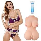 3D Realistische Erotik Liebespuppe für Männer, Masturbator mit Vagina, Anus und Busen (30ml Gleitgel + Bullet Vibrator Ei + USB Lochwärmer)