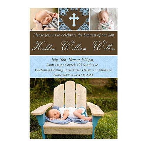 30 invitaciones personalizadas bautismo bautizo comunión con imágenes azul marrón ...