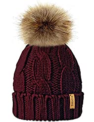 TOSKATOK® Ladies Chunky Soft Cable Knit Hat With Cosy Fleece Liner and Detachable Faux Fur Pompom