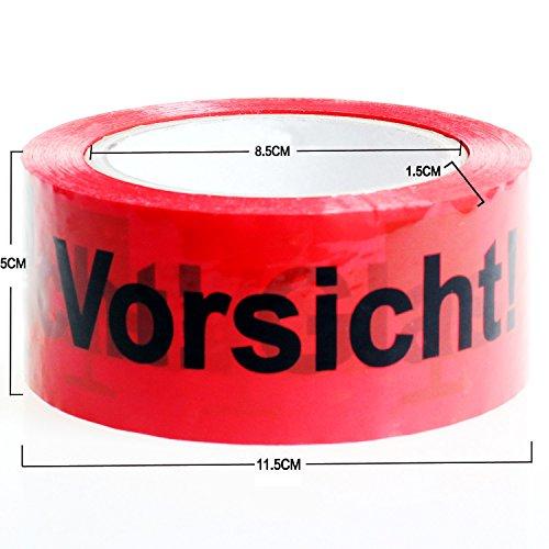 HIMRY 3x Rollen 50mmx100m PAKETBAND KLEBEBAND PACKBAND Vorsicht Glas! 50mm x 100m, 100 Meter Länge je Rolle, Rot/Schwarz, KXD5003-red-3x - 3