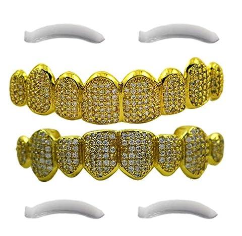 Iced Out Plaqué or 24carats 8dents Grillz couronnes avec CZ diamants + 2barres de moulage supplémentaires