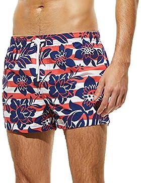 Moda Para Hombre Bañador Con Bolsillos Pantalones Cortos De Natación Playa Escritos Bañadores