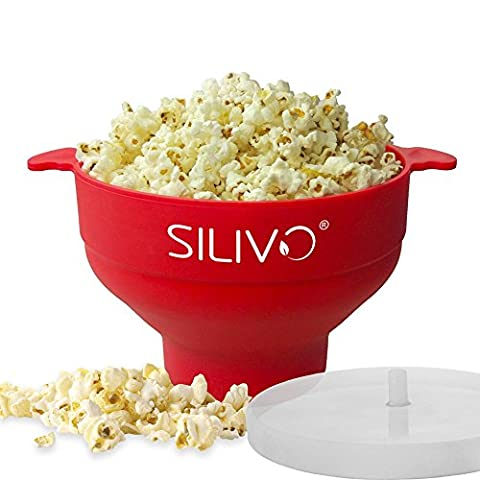 Popcorn Maker, Silivo Microwave Popcorn Popper Collapsible Silicone Bowl with Anti-Splash Lid