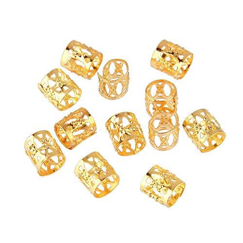 Beauty7 Boucle Anneaux Braiding Beads Metal Pour Dreadlocks Cheveux Tressage Poignets Cuffs Cheveux Decoration Filigrane Tube 10mm 12PCS