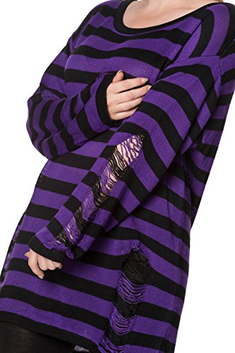 Banned - Pull - À Rayures - Manches Longues - Femme Black-Purple