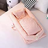 Baby cot Tragbares Krippbett Abnehmbares Babyisolationsbett Neugeborenes Bionisches Bett, 90 * 50 * 15cm, Steppdeckengröße: 80 * 90CM,Pink