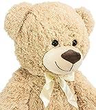 BRUBAKER XXL Teddybär 100 cm Beige mit einem Ich liebe Dich Herz - 5