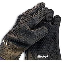 EKNA Silikon-Handschuhe | Ofenhandschuhe | Topfhandschuhe | Grillhandschuhe | Backhandschuhe | 1 Paar - links & rechts | schwarz | für Küche Haushalt Grill - hitzebeständig & spülmaschinenfest