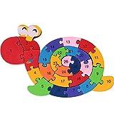 Hrph 26 letras inglesas educativos juego de cerebro para niños Caracol Juguetes de madera niños 3D Puzzle de madera