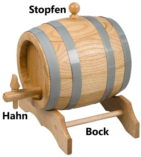 Hofmeister Holzwaren unlackiertes Bierfass aus Holz (3 Liter)