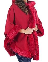 MIXLOT Ladies Faux Fur Trim Hooded Poncho Cape Women Wrap Shawl Cardigan Warm Coat