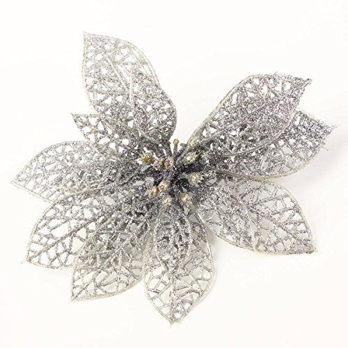 KING DO WAY Pack Of 10 Christmas Flowers Xmas Tree Decorations Glitter Hollow Wedding Party Decor Silver 15cm