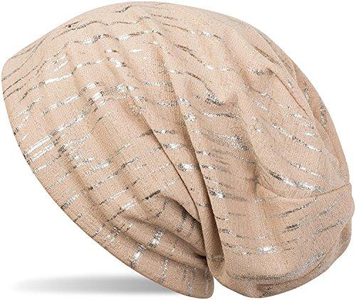 styleBREAKER Beanie Mütze mit Metallic Streifen, Slouch Longbeanie, Unisex 04024120, - Aus Mütze Baumwolle Gestrickte