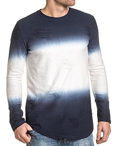 Gov Denim - T-Shirt Deep Navy lange Ärmel zerrissen Wirkung Blau