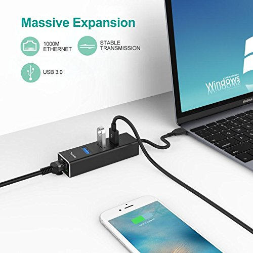 HUB USB 3.0, Techole Aluminio USB Hub Ethernet Adaptador 10/100/1000 Mbps Gigabit Ethernet, 3 USB 3.0 Puertos con Tarjeta Red LAN RJ45 y Adaptador USB C para Mac, Chromebook, Windows 10/8/7/XP, Linux