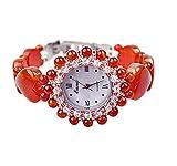 SNHWARE Frauen Armbanduhr Neue High-End-Valentinstag-Geburtstags-Geschenke Liebe Rote Onyx-Uhr-Leben-Wasserdichte Mode-Uhr-Quarz-beiläufige Uhr