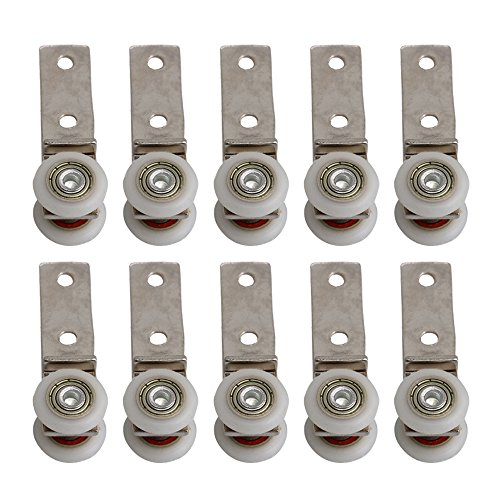 BQLZR - Herraje de 6,50 x 1,90 cm con rodamientos de metal con dos ruedas de plástico para puertas correderas o armarios