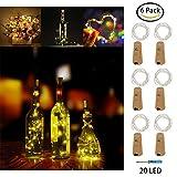 AmeiTech LED Flasche String Lights, 6er Pack Cork Kupfer Draht Fairy Lights, 20 LED Birnen 2M Batterie betriebene Lichter für Schlafzimmer, Party, Hochzeit, Weihnachtsdekoration (Warn White)