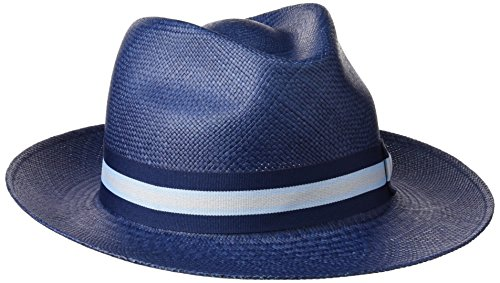 Fernandez y Roche Sombreros Madagascar, Chapeau Panama Mixte Bleu (bleu pétrole)