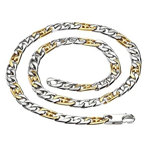Gnzoe Herren Schmuck Edelstahl Kette Halskette Herrenhalskette Mariner Link Kette Halskette Herrenhalskette Gold Silber Kreuz Hoops 10MM 23