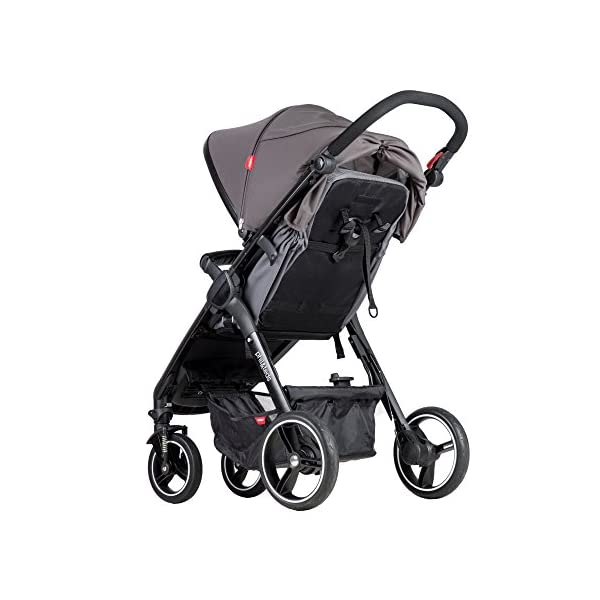 Phil&teds Smart Buggy Pushchair, Graphite phil&teds Foot fold - intuitive, compact, one-piece standing foot fold - a world's first of its kind - is only 23 Inch wide, making it perfect for tight city spaces ; A unique aerocore seat design that's soft and spongy for maximum comfort and is hypo-allergenic, ventilating, insulating, UV resistant, waterproof, non-toxic and simply wipes clean Smooth ride tires - super-smooth, hassle-free riding with 10 Inch rear puncture-proof, aerotech wheels and suspension on all four wheels; convenient hand-operated parking brake offers easy braking control at your fingertips Lightweight - stroller weighs 23.5 lbs. and includes a main, full-size seat that holds up to 44 lbs., an extendable leg and a sun hood with zip-out extension and silent peek-a-boo flap 4