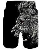 TUONROAD Costumi Uomo Mare Fantasia Leone Stampato 3D Bermuda da Bagno Asciugatura Rapida Pantaloncini Calzoncini Elasticizzato Costume Uomo Hawaiano Surf Estivi Spiaggia Casual Short Nero - XL