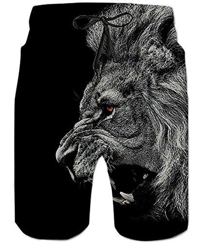 Schwarz Mesh Shorts (TUONROAD Herren Badeshorts Cool Grau Löwe 3D Druck Badehose Männer Beachshorts Schnelltrocknend Sommer Schwimmhose Leicht Kurze Hawaii Hose Boardshorts Knielange Shorts mit Mesh Futter Schwarz - S)