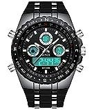 BINZI. orologio da uomo impermeabile, sportivo, digitale, con doppio...