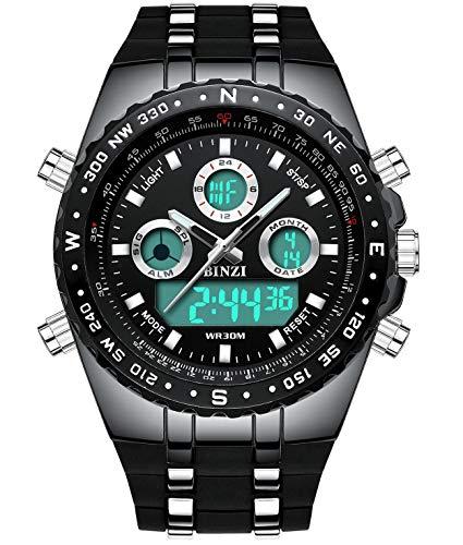 BINZI Herren Uhr Männer Digital Armbanduhr mit Viele Funktionen und Leicht Einzustellen Mann Militär Wasserdicht Sportuhren Maenner Schwarz Silikonband Analog Quarzuhr BZ1685 Ø50.5mm