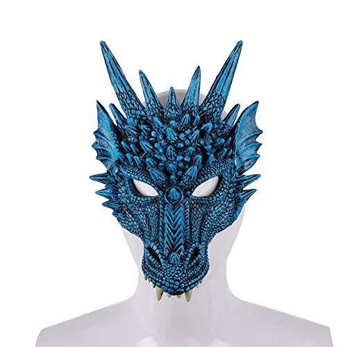 e 2019 Neueste Ankunft Karneval Party Pu Schaum 3D Tier Drachen Maske Drachen Scary Scary Maske,Blue ()